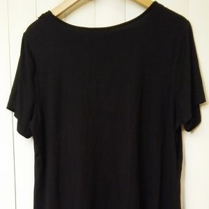 Avenue Tops - Avenue VIP Knits Black Fringe & Gold Chain Blouse